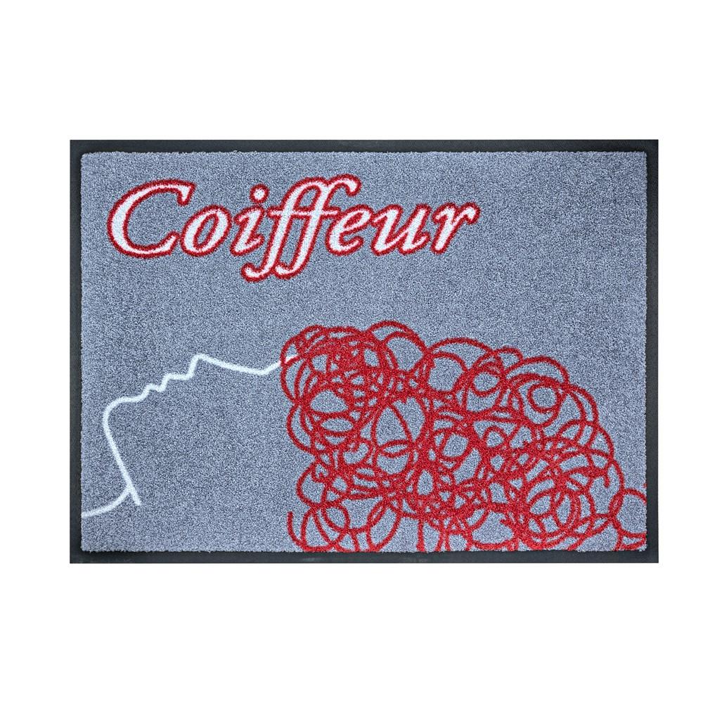 Fußmatte Coiffeur rot/grau