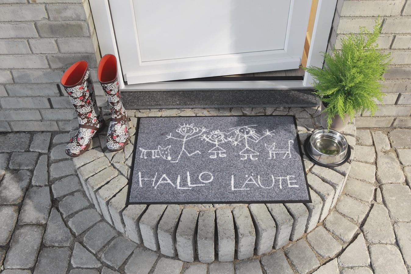 Salonlöwe Schmutzfangmatte waschbar Hallo Läute Anwendungsbild