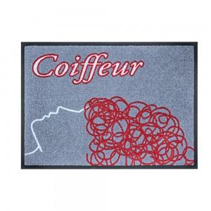 Fußmatte Coiffeur rot/grau 60x85cm mit Trittrand (Restposten)