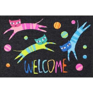 Fußmatte-eingangsbereich-katzen-jumping-cats-welcome-salonlöwe
