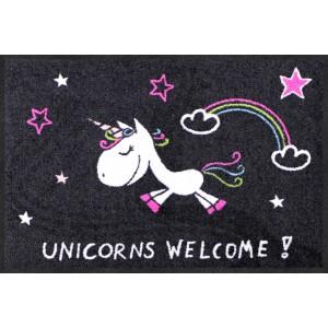Fußmatte-eingangsbereich-unicorns-welcome-rainbow-salonlöwe