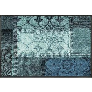 Fußmatte wash+dry Vintage Patches Türkis waschbar Detailansicht