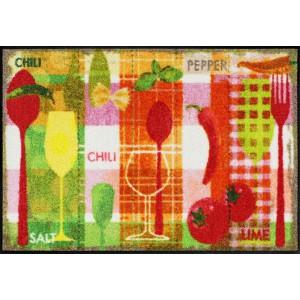 Schmutzfangmatte Kitchen Collage waschbar Salonlöwe