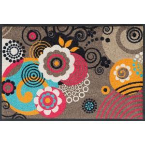 Fußmatte wash+dry Loops and Flowers Taupe waschbar Detailansicht
