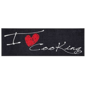 Küchenmatte I love cooking heart waschbar