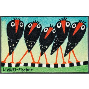 wash+dry Fußmatte Schräge Vögel waschbar Detailansicht