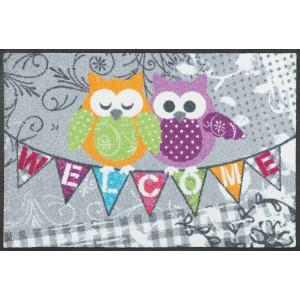 Schmutzfangmatte Welcome Owls waschbar