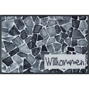 Fußmatte Willkommen Steine waschbar Detailansicht